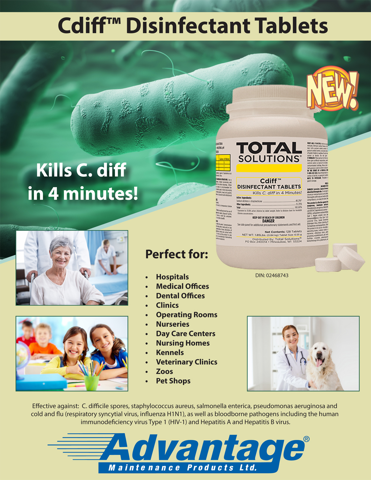 Advantage Maintenance Products :: Cdiff Disinfecting Tablets